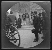 Olga, Queen, consort of George I, King of the Hellenes leaving the Church of the Savior of Lykodemos, Athens, 1891