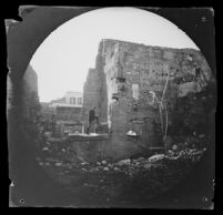 William Sachtleben exploring the ruins of the Stoa of Attalos (Attalus), Athens, 1891