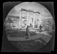 William Sachtleben with his bicycle at the Library of Hadrian, Athens, 1891