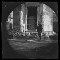 William Sachtleben with his bicycle at the Tower of the Winds, Athens, 1891