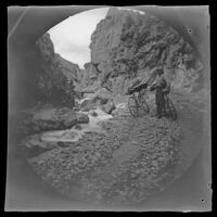 William Sachtleben with his bicycle next to a stream in a mountainous area on the way to the Lidjessy Mines, Şebinkarahisar vicinity, Turkey, 1891