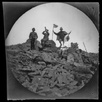 "William Sachtleben at the summit of ""Kat-run-tepe"" near the Lidjessy Mines with a kavass, Bachelor Creswell and Mr. Rowe, Şebinkarahisar vicinity, Turkey, 1891"
