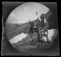 "William Sachtleben, Bachelor Creswell and Mr. Rowe on the summit of ""Kat-run-tepe"" near the Lidjessy Mines, Şebinkarahisar vicinity, Turkey, 1891"