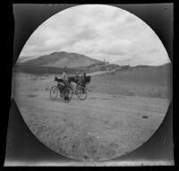 Distant view of Beypazarı with William Sachtleben and his bicycle in the foreground, Turkey, 1891