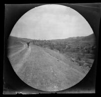 William Sachtleben riding his bicycle on the route to Ankara between Geyve and Beypazari, Turkey, 1891