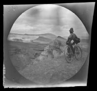 "William Sachtleben enjoying the scenery from an elevation on the road between ""Nalikhan"" (probably Nallihan) and Beypazari, Turkey, 1891,"