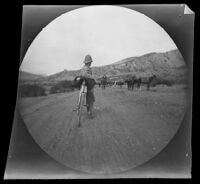 William Sachtleben looking towards a caravan of camels and donkeys on the road from Beypazari to Ankara, Turkey, 1891
