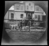 Tom Newton, British Vice-Consul, in front of his house with Thomas Allen (possibly) and others, Ankara vicinity, Turkey, 1891