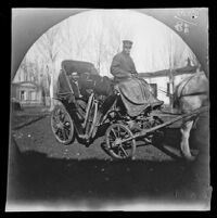 Thomas Allen entering the city in a drosky carriage with his bicycle, Tashkent, Uzbekistan, 1891