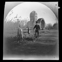 William Sachtleben or Thomas Allen riding past the Gur-Ėmir complex during a bicycle tour, Samarqand, Uzbekistan, 1891
