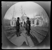 William Sachtleben and Johann von Balinski standing in front of the Prince Romanov Palace on Sailgokh Street, Tashkent, Uzbekistan, 1891