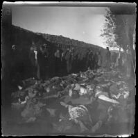 Armenian massacre victims laid out in the Armenian Gregorian Cemetery, Erzurum, Turkey, 1895