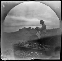 William Sachtleben next to Trans-Bosphorus Railway tracks en route from Istanbul to İzmit, Turkey, 1891