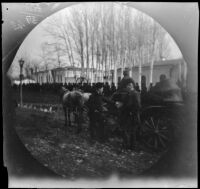 William Sachtleben and Seewald next to a carriage just before their departure for London, Tashkent, Uzbekistan, 1891