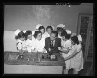 Dr. Elias Spotkov with student nurses, Los Angeles Country General Hospital, 1947