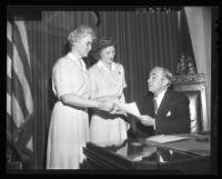 Lona Peterson, Dorothea Hansen, and Harold A. Henry, City Hall, Los Angeles, 1947
