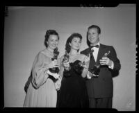 Agnes Moorehead, Jean Simmons, and Dick Powell, Academy Awards, Los Angeles, 1948
