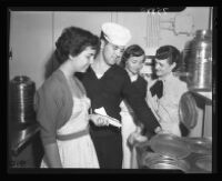Ann Robertson, Peggy Herbst, Wayne Williams, and Anna Kaes, USS Repose, Long Beach, 1952