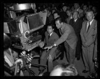 Crown Prince Akihito and Bill Holden at Metro-Goldwyn-Mayer studios, Culver City, 1953