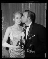 Grace Kelly and Marlon Brando at the Academy Awards, Los Angeles, 1955
