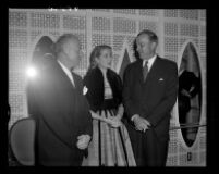 Virgil Pinkley, Grace Kelly, and Philip Chandler, Beverly Hilton, Beverly Hills, 1955