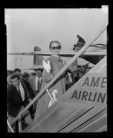 Grace Kelly boarding an American Airlines plane, Los Angeles, 1956