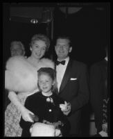 Deborah Kerr, Tony Bartley, and daughter Melanie Jane Bartley, Grauman's Chinese Theater, Los Angeles, 1957