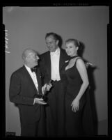 Morris Stoloff, Vincent Price, and Anita Ekberg, Academy Awards, Los Angeles, 1958