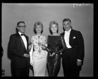 George Wells, Doris Day, Kim Novak, and Clark Gable, Academy Awards, Los Angeles, 1958