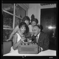 Mrs. Robert Armbruster, Mrs. Stevens Fargo, Dana Wynter, and Edward G. Robinson, Los Angeles, 1965