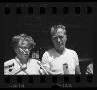 Glenn Hoag and Betty Hoag face reporters, Valencia, 1970