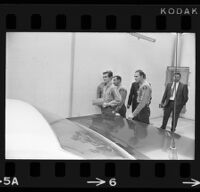 Bobby Augusta Davis being escorted by deputy sheriffs after his sentencing, Van Nuys, 1970