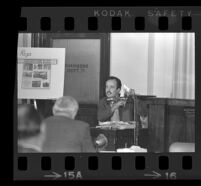 Raul Ruiz on the witness stand at the Ruben Salazar inquest, Hall of Records, Los Angeles, 1970
