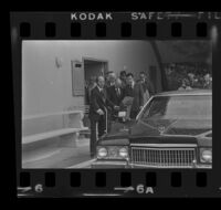 Mickey Cohen leaves his brother Marvin's funeral, Los Angeles, 1973