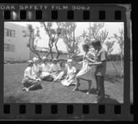 Outdoor nursing class for deaf students at Los Angeles Trade Technical College, Los Angeles, 1976