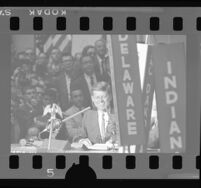 John F. Kennedy speaking at the Democratic National Convention after winning the presidential nomination, Los Angeles, 1960