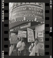 "Protest against ""Dressed to Kill"" at the Hollywood Pacific Theater staged by Women Against Violence Against Women, Hollywood, 1980"