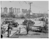 Scene of shootout between police and double murderer George Farley, Los Angeles, 1938
