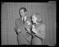 Dick Powell and June Allyson on their wedding day, Los Angeles, 1945