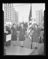 Three female veterans on Army Day, City Hall, Los Angeles, 1944