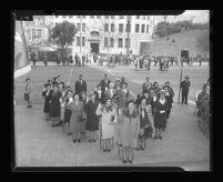 Members of the Women's Army Corp (WAC) in front City Hall on Army Day, Los Angeles, 1944