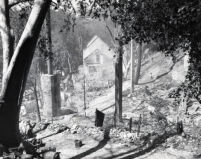 Mt. Lowe Tavern after historic fire, Los Angeles County, 1936