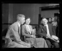 Clara Phillips with A. L. Philips and another man in a courtroom, Los Angeles, 1922/1923