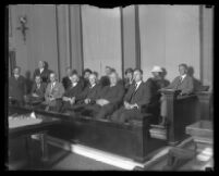 Jury for Clara Phillips trial sitting in a Los Angeles Courtroom, Los Angeles, 1922