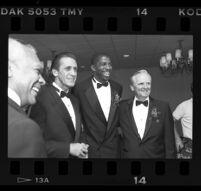 John W. Mack, Pat Riley, Magic Johnson, and Jerry West at the Century Plaza, Century City, 1989