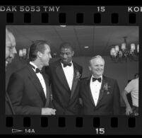 "Pat Riley, Earvin ""Magic"" Johnson and Jerry West at the Century Plaza, Century City, 1989"