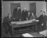 A. E. Stockburger, Edward Craig, Peter Hanson, James B. Holohan, Lieut. Gov. George J. Hatfield, and Court Smith meet in State Building to discuss prison expansion, Los Angeles, 1936