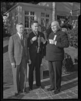 Governor Frank F. Merriam, Lowell Pratt, and Ed Byfield at the California Newspaper Publishers' Association annual convention, Santa Monica, 1936