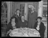 Agnes Fredericks and Queen Walker Boardman, officials of a luncheon sponsored by the Civic Beautification Committee, along with John D. Fredericks, W.W. Orcutt, and Pearl Chase, Van Nuys, 1936