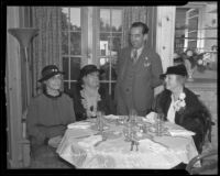 Mabel Socha, Agnes Fredericks, Major Harry Bateson, and Mary Logan Orcutt at a luncheon sponsored by the Civic Beautification Committee, Van Nuys, 1936